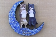 Intricately Cut Wooden Component: Two Cats in a Flowery Moon