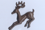 Vintage Flat-Backed Cellulose Brown Reindeer Motif
