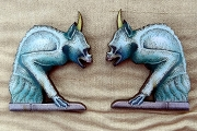 Set of Two Intricately Detailed Laser-Cut Matching Blue Gargoyles with Horns