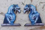 Set of Two Intricately Detailed Laser-Cut Matching Blue Gargoyles