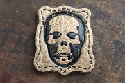 Small Cowhide Leather Skull Patch
