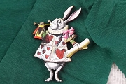Intricately Cut White Rabbit Announcer Wooden Component