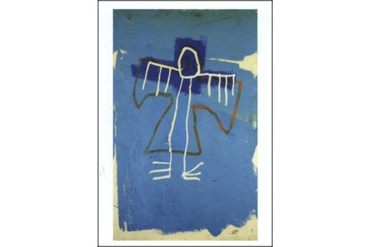 Untitled Basquiat Note Card - Blue with Bird-like Drawing with White Envelope