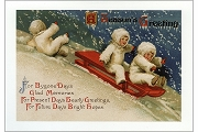 Snow Babies Sledding Christmas Note Card