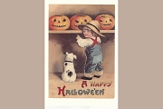 Note Card from Barbara Shriber: Pumpkin Boy With Dog (A Happy Hallowe'en)