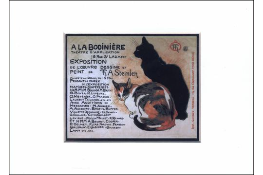 Frameable Note Card with Matted Art Print: Steinlen Cats (Poster Art)