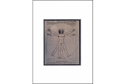 Frameable Note Card: Matted Print by Leonardo da Vinci: Symmetry of Man (Vitruvian Man)