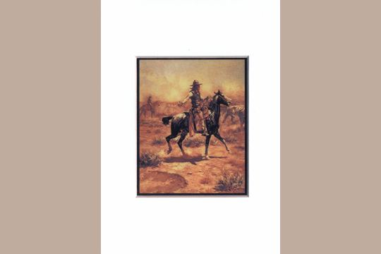 Frameable Note Card with Matted Art Print:  Charles Russell: Through the Alkali, Montana
