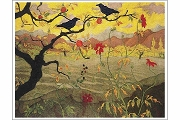 Gorgeous Autumn Note Card with Ravens and Persimmons