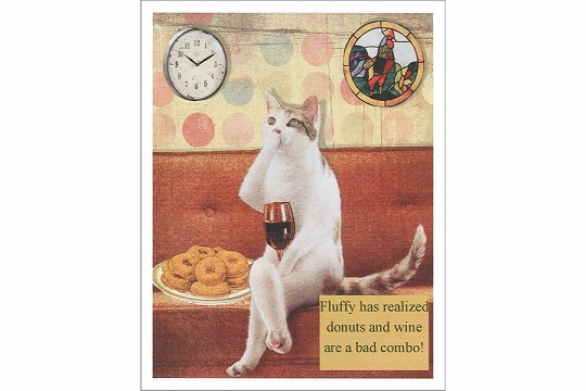 Kitty with Wine and Donuts Note Card