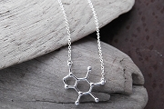 Silver Molecular Caffeine Necklace<br>(for Coffee Drinkers?)