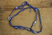 Chinese Knotted Blue and White Porcelain Necklace