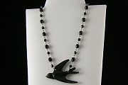Small Retrolite Blackbird Necklace on Faceted Jet Crystal Chain