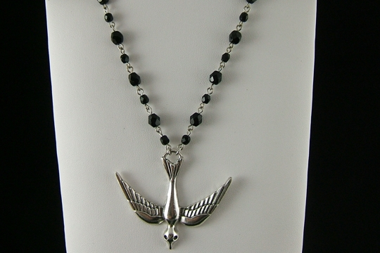 Silver Crow (facing downward) Necklace on Faceted Jet Crystal Chain