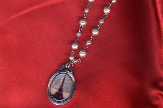 Vintage Style Eiffel Tower Necklace on Glass Pearl Rosary Chain