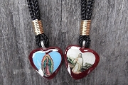 Reversible Elegant Wooden Guadalupe/Jesus Pendant on Cord