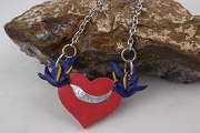 Bluebirds and Heart Necklace