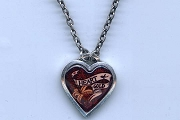 Small Tattoo-Art Heart of Gold Necklace on Silver Chain
