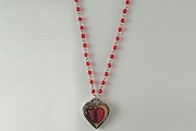 Mended Heart Necklace on Ruby Glass Faceted Rosary Chain in Fabric Gift Bag