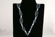 Light Blue Ribbon Necklace with 8 Freshwater Pearls - 28 inches