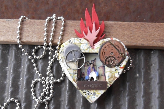 Altered Art Imagine Flame Nicho Pendant on Chain