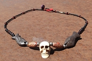 Hand Made Bead and Skull Necklace with Fish