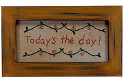 Primitive-Style Hand-Stitched Sampler: Today's the Day!