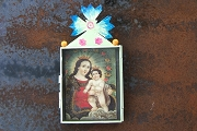 Large Hand Painted and Decorated Madonna and Child Nicho (Removable Picture)