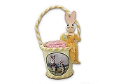Cute Yellow Chenille Bunny Bucket Ornament