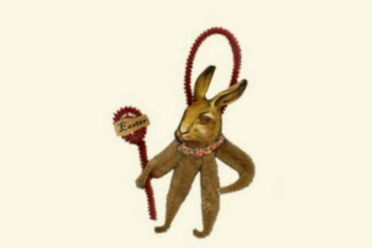 Old Fashioned Chenille Ornament - Brown Bunny with Easter Sign and Necklace