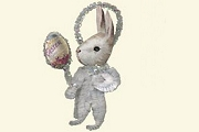 Old Fashioned  Chenille Ornament: White Bunny with Easter Egg