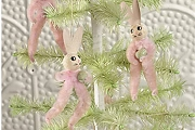 Old Fashioned Pink Chenille Bunny Ornament with Paper Ears!