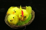 Little Chenille Chick Family in Tiny Basket Nest