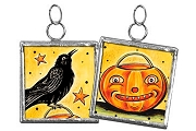 Large Handmade Reversible Glass Ornament - Crow and Jack-o'Lantern