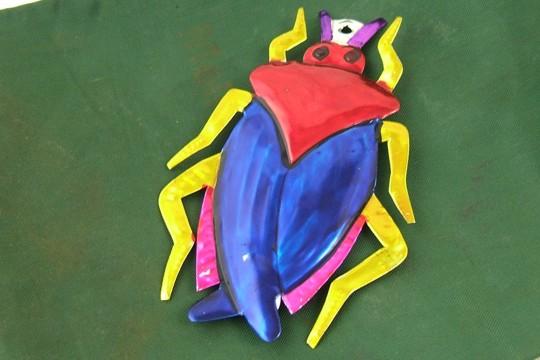 Hand Made & Painted Tin Cucaracha (Cockroach) Ornament