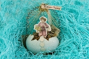 Retired Old-Timey Blue Glitter Egg Ornament Featuring a Little Boy and Welcome Spring Banner