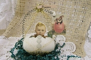 Retired Old-Timey White Glitter Egg Ornament Featuring a Little Boy and Souvenir Banner