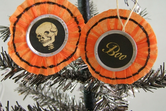 Scary Skull & Boo Orange Crepe Paper Circle Ornament