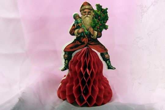 Old-Timey Santa Claus on Honeycomb Bell Ornamnet