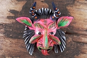 Mini Pink Devil Mask Ornament - Handpainted by Jimenez