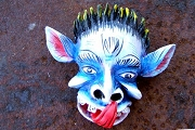Mini Devil Mask Ornament - Blue Devil with Long Tongue - Handpainted by Jimenez