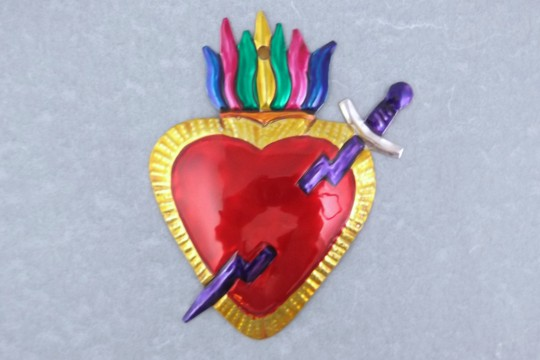 Pierced Heart Tin Milagro Ornament