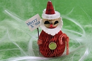 VINTAGE Honeycomb Santa with Merry Xmas Sign