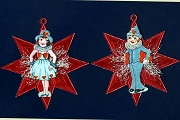 Vintage Scrap Valentine Cutie & Krausbouillion Ornament on Red Dresden Star
