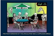 Art Postcard - Four Horsemen of the Apocalypse Take a Cappuccino Break