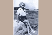 Art Postcard - Alfred Einstein on the Beach, c 1945