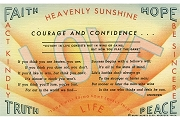 Vintage Happy Hearts Club Linen Postcard: Courage and Confidence