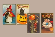 Set of 1 Dozen Vintage-Style Embossed Halloween Postcards