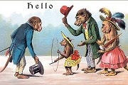 Art Postcard: Hello (Monkey Family)