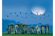 Art Postcard: Moon over Stonehenge